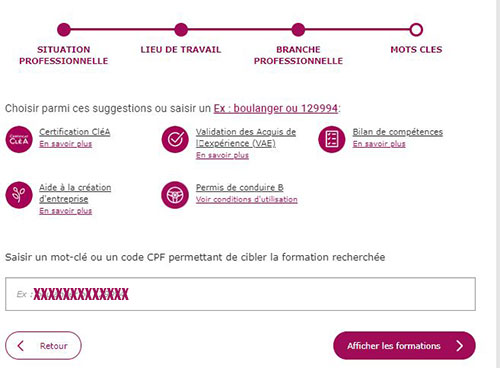 compte cpf choix formation