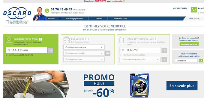 vente en ligne pieces auto Oscaro