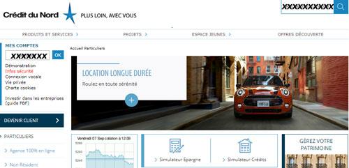 consultation d'un compteCrédit du Nord particuliers en ligne