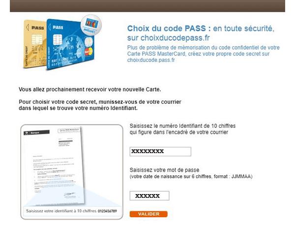 Choix du code pass.fr
