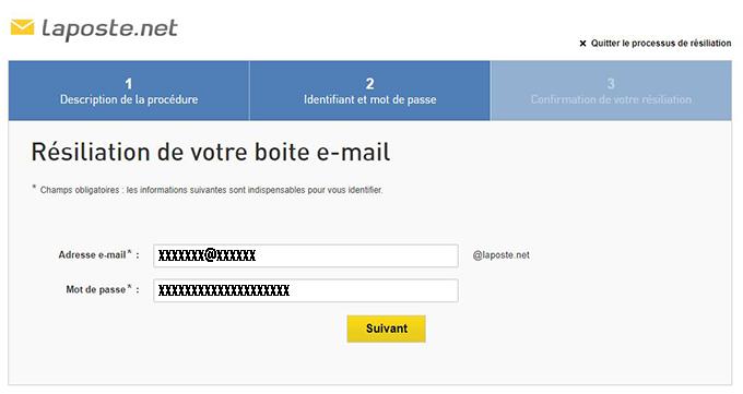 resiliation adresse email laposte