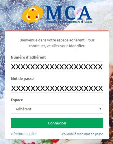 connexion à mon compte MCA Mutuelle