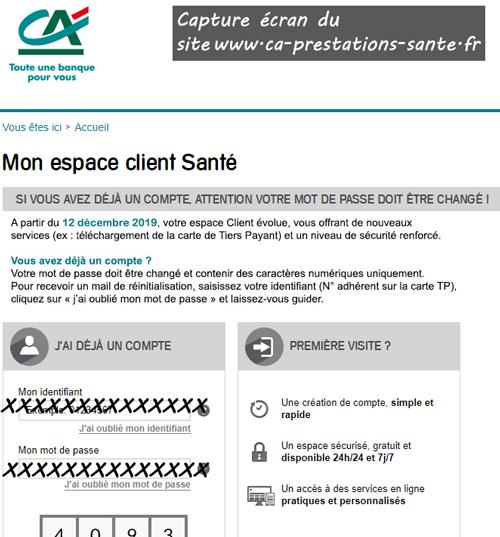 connexion sur le site www.ca-prestations-sante.fr