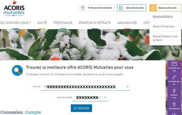 www.acorismutuelles.fr : site de la mutuelle santé Acoris