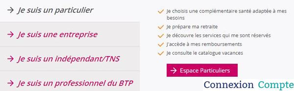 www.mieux-etre.fr : espaces clients proposés