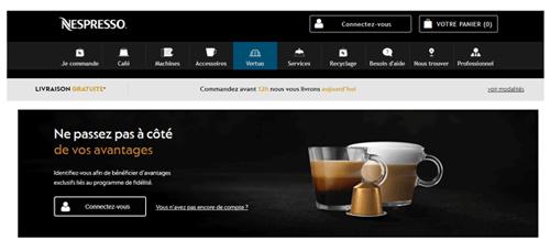 Site de la boutique en ligne nespresso