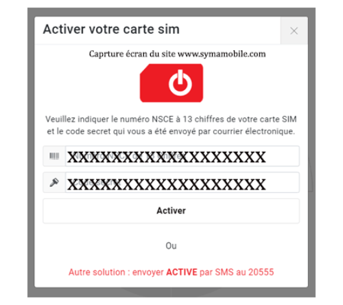 Syma mobile activation sim