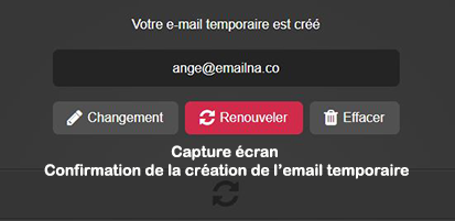 confirmation création adresse email mohmal