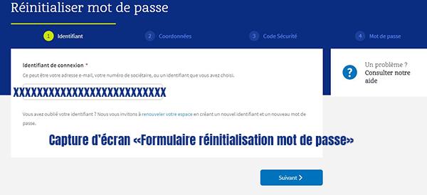 formulaire reinitialisation mot de passe espace adherent