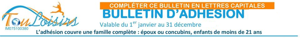bulletin d'adhésion touloisirs 2020