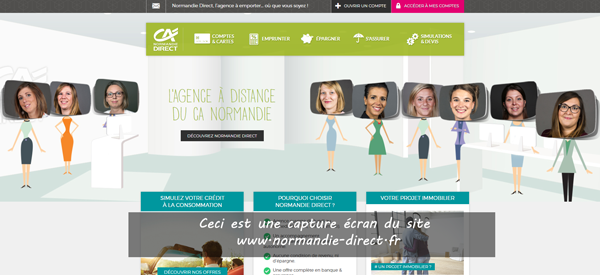 site de la caisse régionale Crédit Agricole normandie en ligne : www.normandie-direct.fr