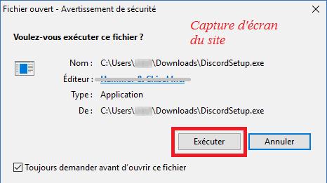installer et exécuter l'application discord