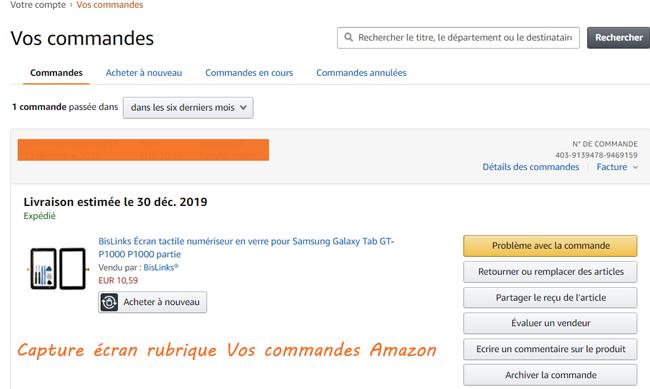 Amazon Suivi de Commandes en cours de livraison et de colis