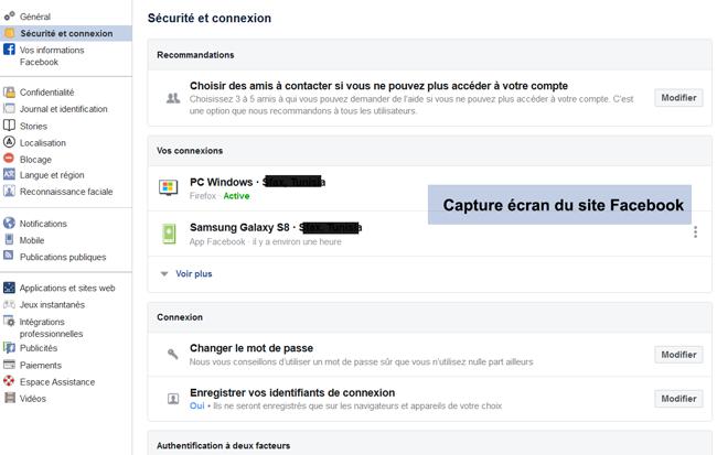 rubrique sécurité et connexion Facebook