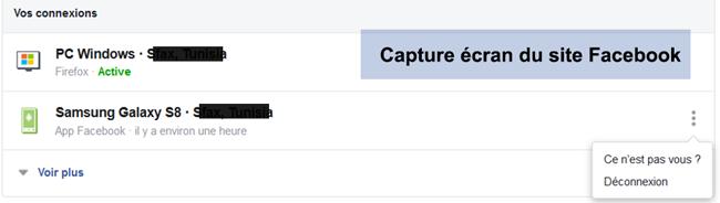 arrêter les connexion Facebook depuis différents types d'appareil inconnu