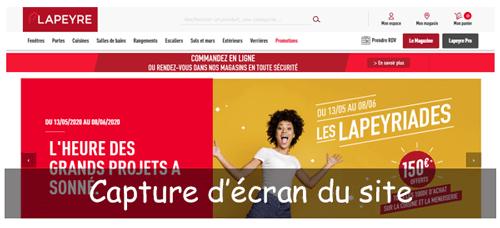 Suivi de commande sur www.lapeyre.fr