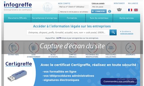 Suivi commande sur infogreffe.fr