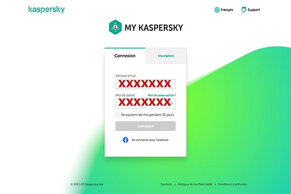 Accès au compte Kaspersky