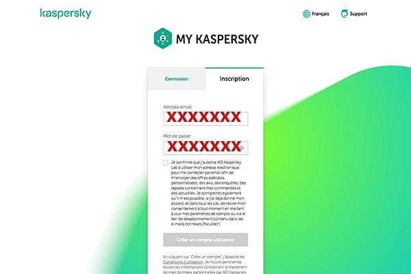 Ouverture du compte Kaspersky