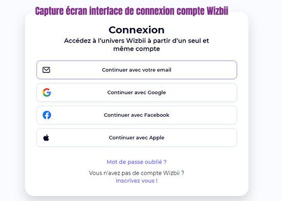 connexion compte wizbii